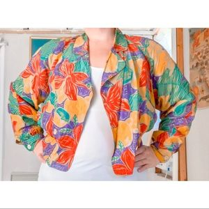 Vintage 1980s Silk Double breasted Floral Jacket